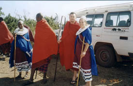 Wearing traditional maasai clothing and getting married